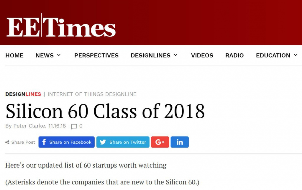 Kneron was announced in EE Times Silicon 60 Class of 2018 | Kneron